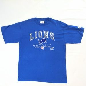 Vintage Embroidered Detroit Lions Blue Tee Shirt